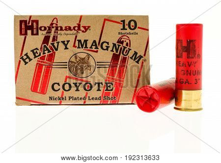Winneconne WI -11 June 2017: A box of Hornady heavy magnum coyote ammo on an isolated background
