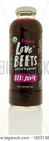 Winneconne WI -13 June 2017: A bottle of Organic Love Beets on an isolated background