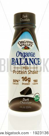 Winneconne WI -13 June 2017: A bottle of Orgainic Valley balance milk protein shake on an isolated background