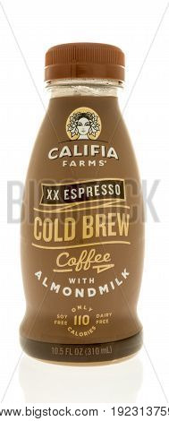 Winneconne WI -13 June 2017: A bottle of Califia farms xx espresso cold brew with almondmilk on an isolated background