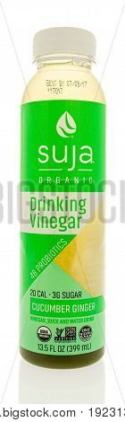 Winneconne WI -13 June 2017: A bottle of Suja orgainic drinking vinegar in cucumber ginger flavor on an isolated background