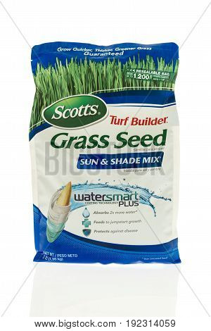 Winneconne WI -17 June 2017: A Bag of Scotts turf builder grass seed on an isolated background