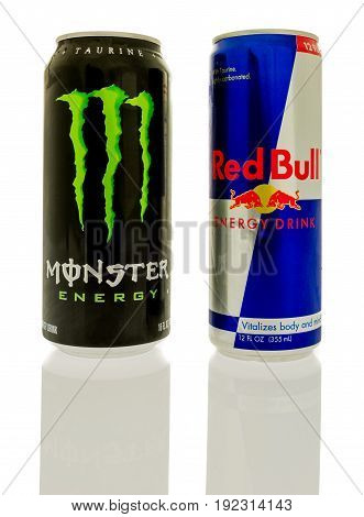 Winneconne WI -17 June 2017: Cans of Red Bull and Monster energy drinks the top two selling energy drinks in the world on an isolated background