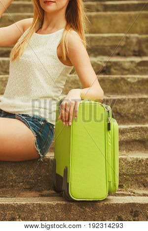 Part Body Of Female Tourist With Suitcase.