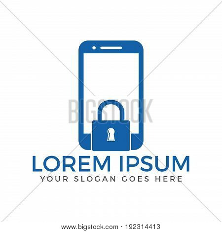 Mobile Phone lock vector logo design. Padlock and mobile symbol or icon. Unique privacy and security logotype design template.