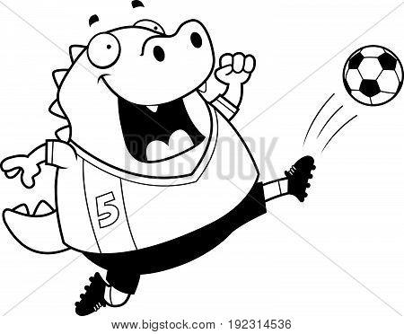 Cartoon Lizard Soccer Kick