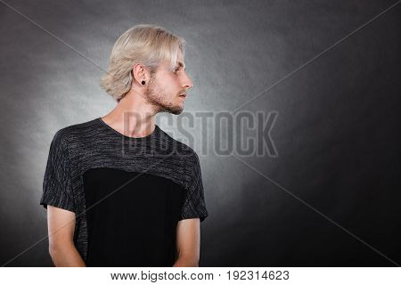 Portrait Young Man With Stylish Haircut