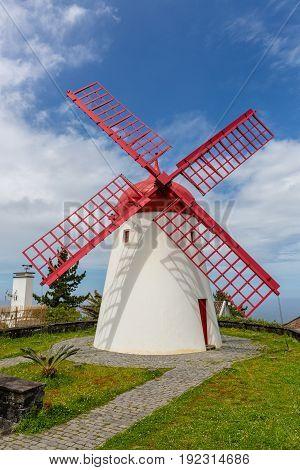 Pico Vermelho Windmill On The Coast Of Sao Miguel Island