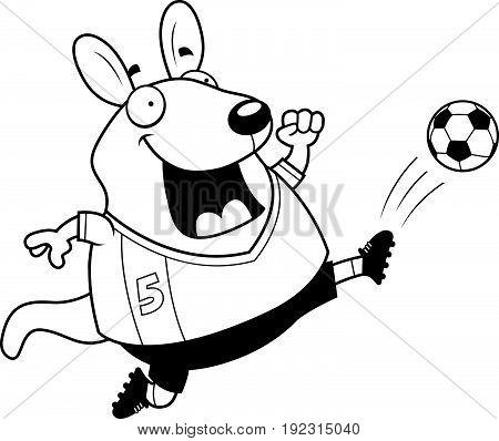 Cartoon Wallaby Soccer Kick