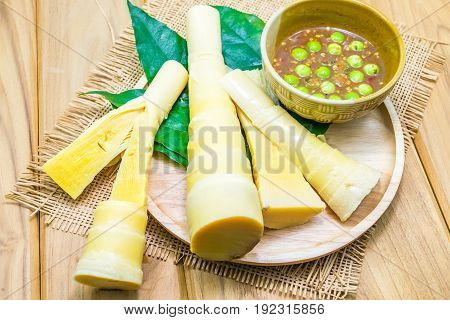 Bamboo shoot and chili paste is food thailand