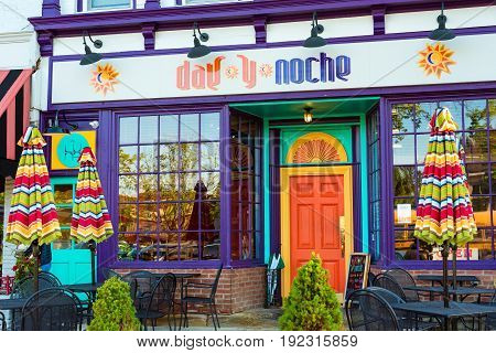 GRANVILLE OH - MAY 15 2017: The Mexican restaurant Day y Noche adds a colorful facade to the block of businesses in this charming village to the east of Columbus.