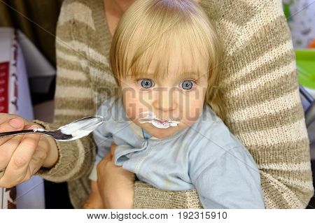 beautiful baby feeding spoon in the kitchen