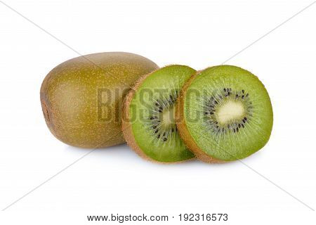 whole and sliced ripe green kiwi on white background