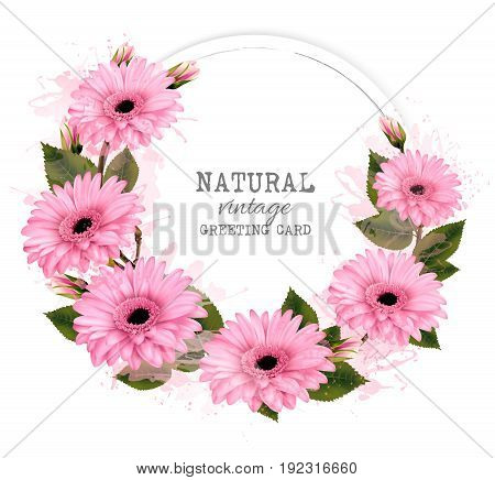 Natural vintage greeting card with pink flowers. Vector.