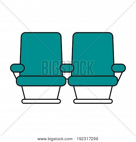 Flat line cinema seats over white background vector illustration