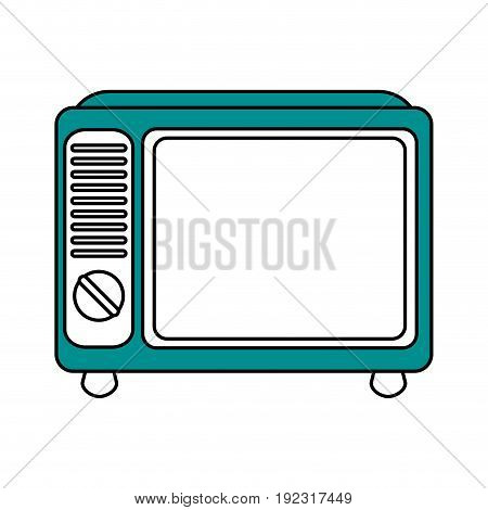 Flat line retro tv  over white background vector illustration