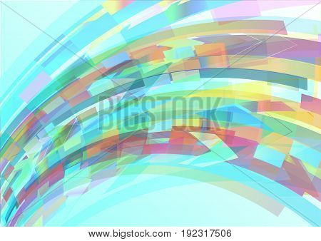 Abstract colorful geometric shape on blue background