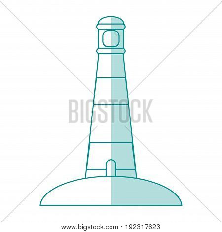 Flat line monocromatic lighthouse over white background vector illustration