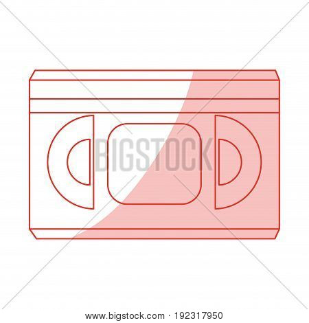 Flat line monocromatic movie tape over white background vector illustration