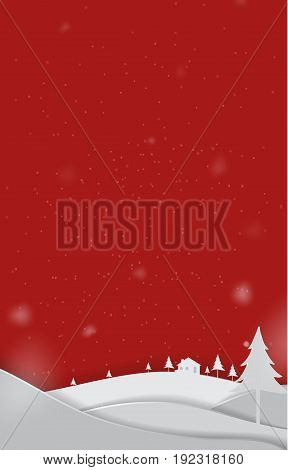 Merry Christmas paper art Landscape cute vector paper cut illustration