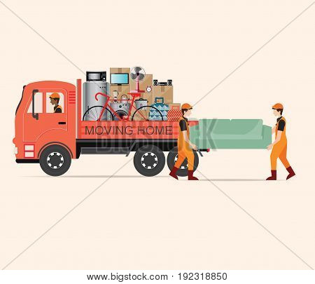 House Moving services transportation and logistic flat design Vector illustration.