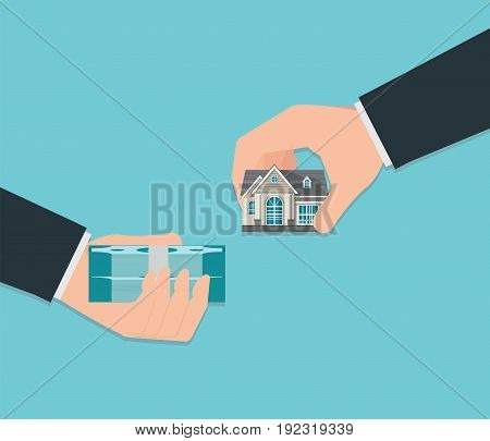 Human hand holding right house and money isolated on background exchange conceptual property for sale real estate conceptual vector illustration.