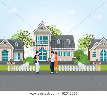 Real estate agent showing new house to couple real estate conceptual vector illustration.