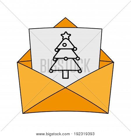 Envelope with christmas letter over white background vector illustration