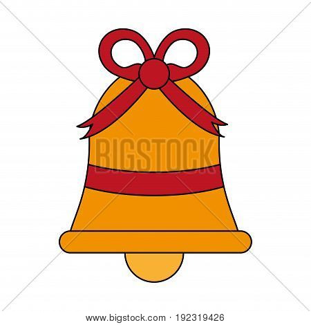 Ornamental bell with ribbon over white background vector illustration