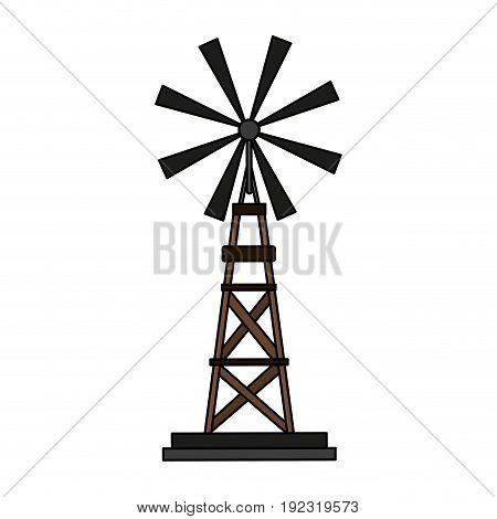 Old windmill over white background vector illustration