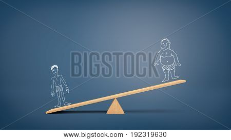 A wooden seesaw on blue background holding a heavier drawing of a fit man and a less important drawing of an unfit man. Sport and fitness. Health over laziness. Training benefits.