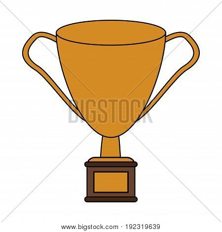 Golden trophy over white background vector illustration