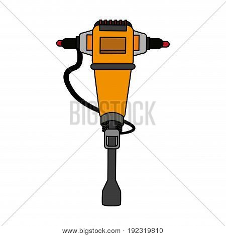Yellow drill over white background vector illustration