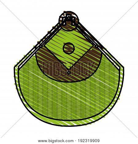 Baseball field doodle over white background vector illustration