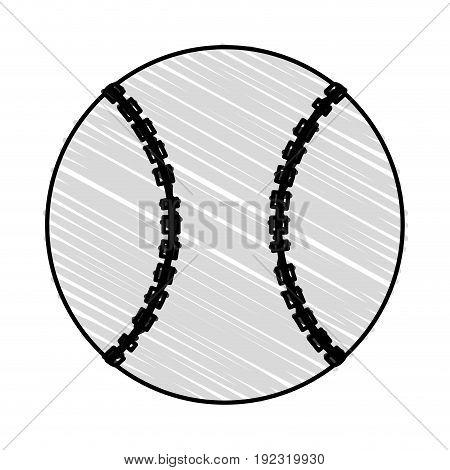 Baseball ball doodle over white background vector illustration