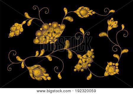 Gold Tribal Flower Embroidery Crewel Patch.golden Black Floral Textile Ornament. Ornate Vector Illus