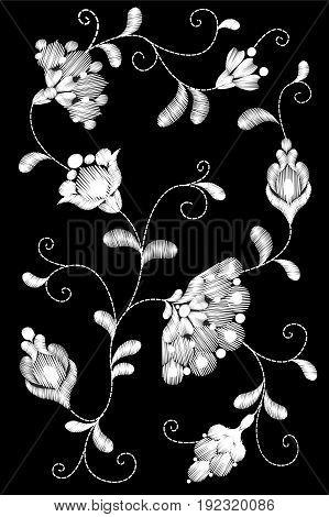 Tribal Flower Embroidery Crewel Patch.black White Monochrome Lace Floral Textile Ornament. Ornate Ve