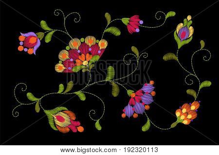 Tribal Flower Embroidery Crewel Patch. Bright Red Green Colorful Floral Textile Ornament. Ornate Vec