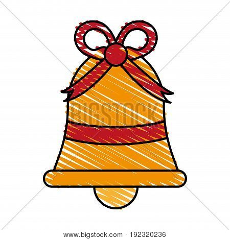 Ornamental bell with ribbon doodle over white background vector illustration