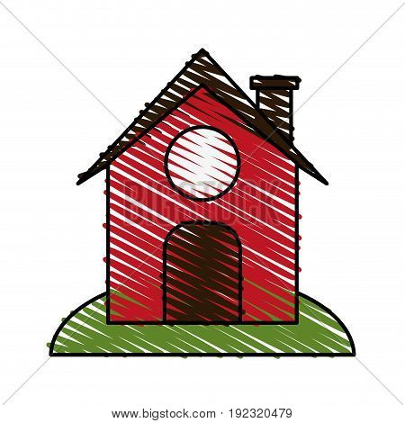 Red barn doodle over white background vector illustration