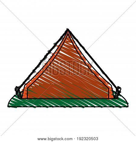 Orange tent doodle over white background vector illustration