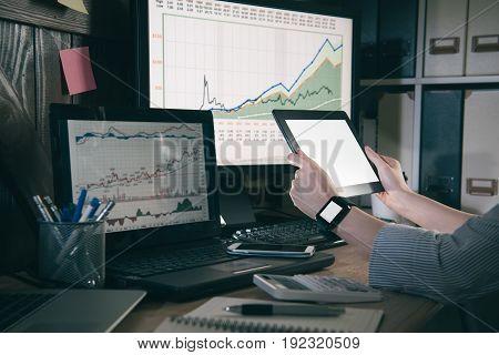 Female Manager Preparing Makes Report