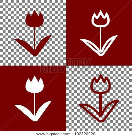 Tulip sign. Vector. Bordo and white icons and line icons on chess board with transparent background.