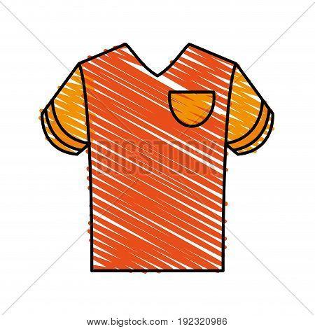 orange shirt doodle over white background vector illustration