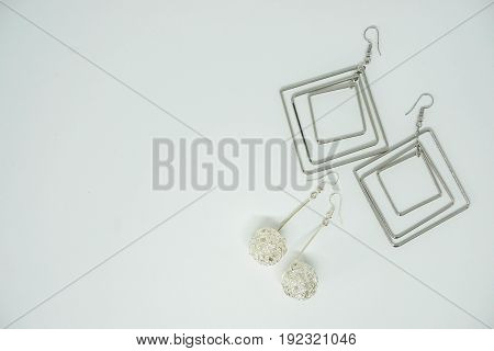 isolated cute sparkling earrings for women beauty