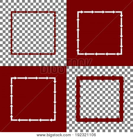 Arrow on a square shape. Vector. Bordo and white icons and line icons on chess board with transparent background.