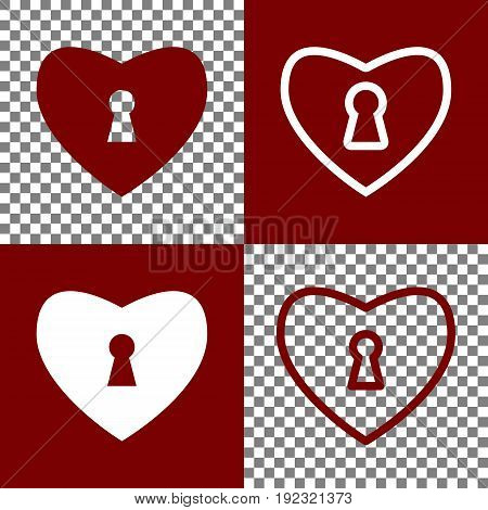 Heart with lock sign. Vector. Bordo and white icons and line icons on chess board with transparent background.