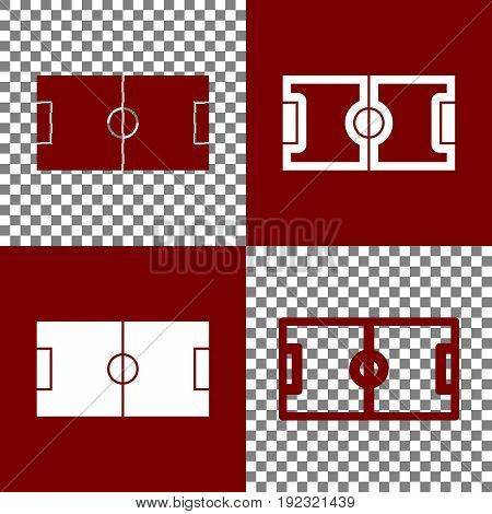 Soccer field. Vector. Bordo and white icons and line icons on chess board with transparent background.