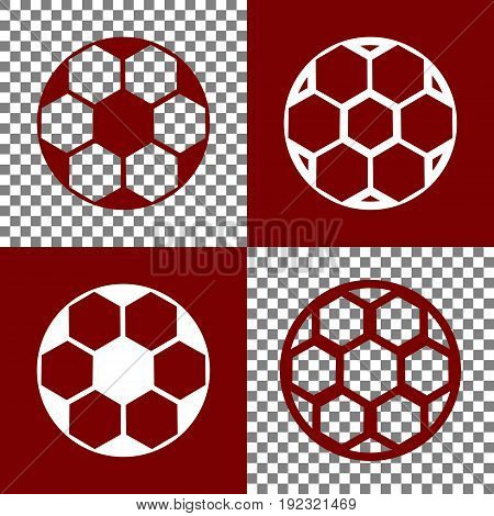 Soccer ball sign. Vector. Bordo and white icons and line icons on chess board with transparent background.