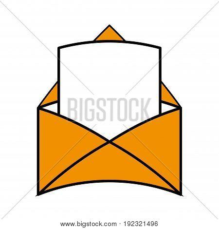 Flat line envelope and letter over white background vector illustration